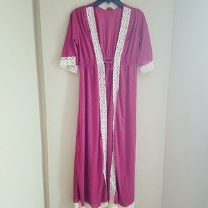 Vintage sheer robe with lace trim